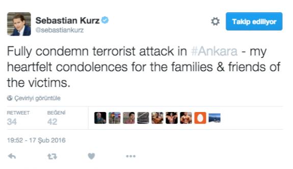 Sebastian Kurz'tan 'Kınama'