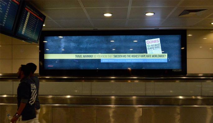 Atatürk Havalimanı'nda Avusturya ve İsveç'e misilleme yazısı
