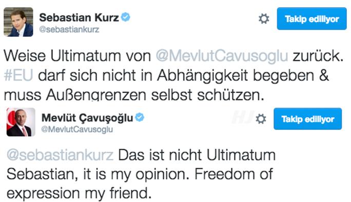 Çavuşoğlu'ndan Kurz'a imalı cevap: 'Düşünce özgürlüğü var dostum'