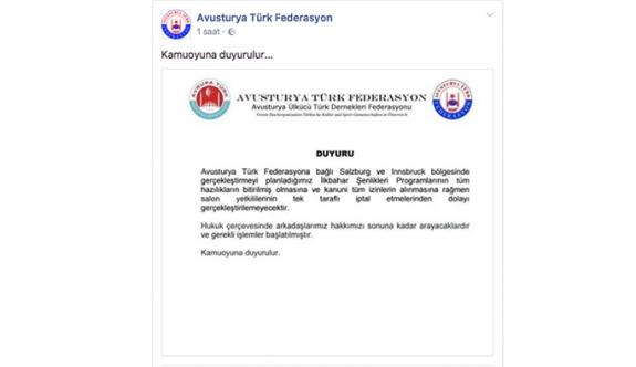 Avusturya Türk Federasyonu'nun İlkbahar programları iptal edildi