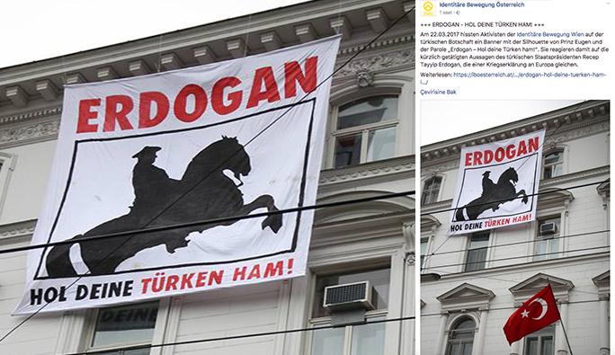 Türkiye'nin Viyana Büyükelçiliğine pankartlı saldırı
