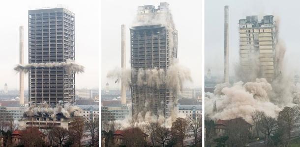 ''Frankfurt Üniversitesi Kulesi Saniyeler İçinde Yerle Bir Oldu''