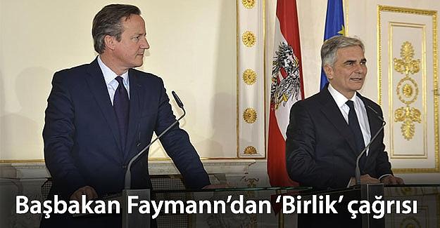 Başbakan Faymann'dan 'Birlik Çağrısı'