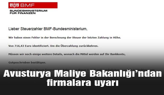Avusturya Maliye Bakanlığı'ndan firmalara uyarı