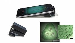 Optik eklenti cep telefonunu mikroskoba...