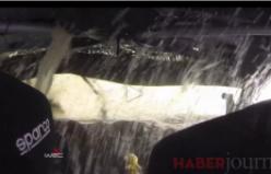 Araç içi kameradan ralli sırasında aracın göle düşme anı