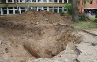 Okul bahçesinde 2. Dünya Savaşı'ndan kalma...