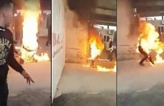 Sınırdışı edilmek istenen Suriyeli kendini yaktı