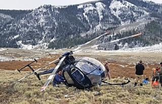 Geyiğin çarptığı helikopter düştü!