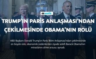 Trump'ın Paris Anlaşması'ndan çekilmesinde Obama'nın rolü büyük