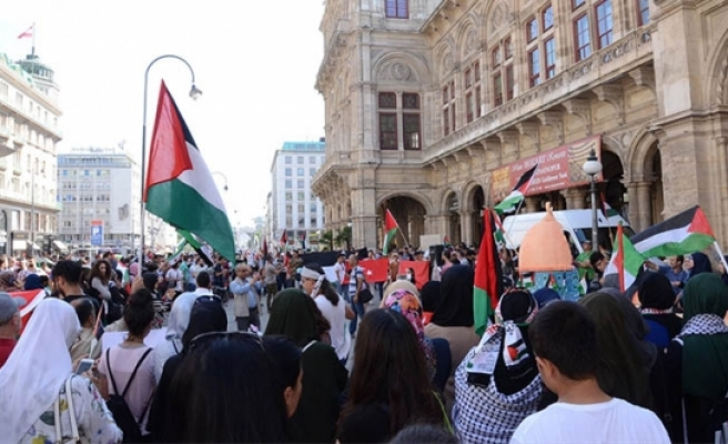 Viyana'da İsrail'in Mescid-i Aksa'ya yönelik ihlallerine karşı gösteri