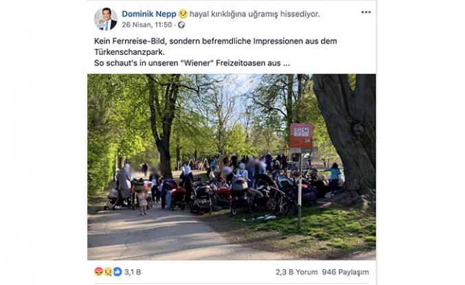 """Viyana'daki Türk Parkında  """"başörtülü anne"""" hazımsızlığı"""