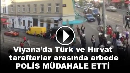 Viyana'da Türk ve Hırvat taraftarlar arasında arbede