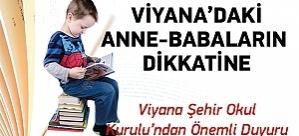 Viyana Şehir Okul Kurulundan Önemli Duyuru